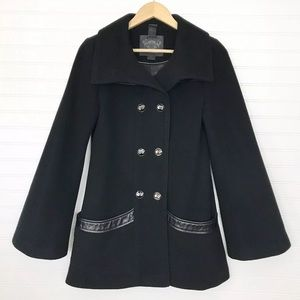 Mackage Black Wool Cashmere Mid Length Coat Small
